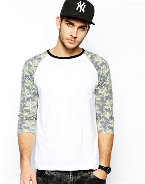 T Shirt Sleeve lyst asos three quarter sleeve t shirt with palm print sleeves in white for