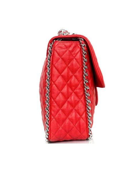Coral Jumbo Maxy by Chanel Coral Quilted Chain Around Maxi Bag Nib For