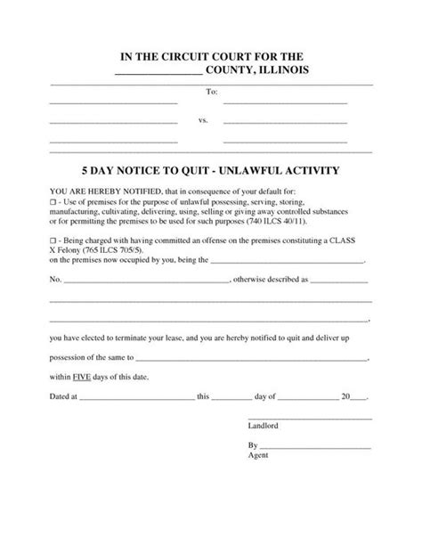 printable eviction notice oklahoma illinois 5 day notice to quit form unlawful activity