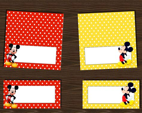 printable mickey mouse envelope instant download mickey mouse food labels assorted red and