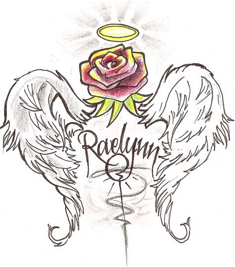 rose tattoo with angel wings with wings design