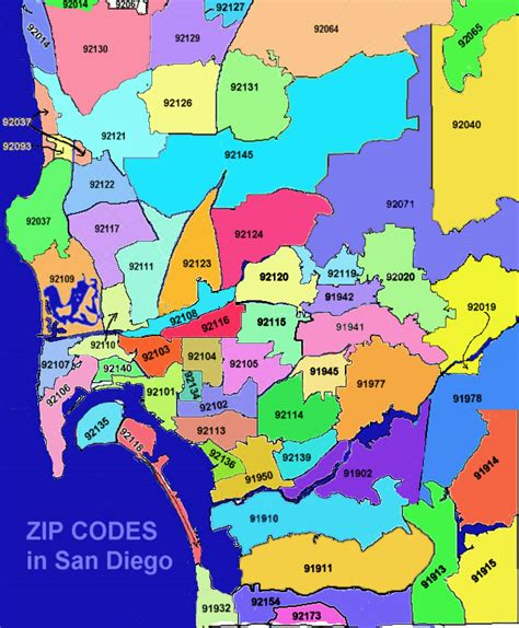 san diego map of zip codes