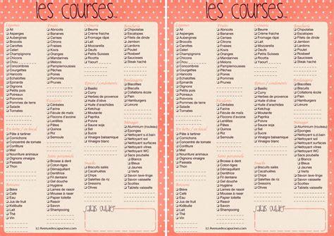 Liste De Courses by Liste De Courses 224 Imprimer Avenue Des Capucines