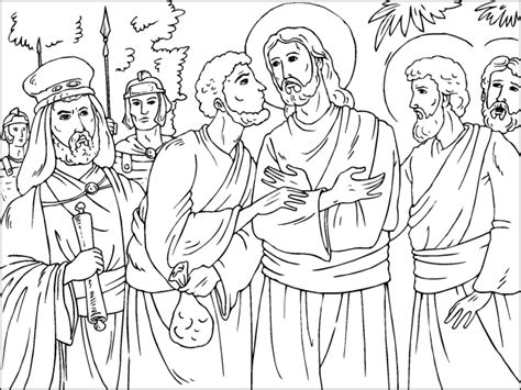 coloring pages of judas betrays jesus free coloring pages of jesus and judas