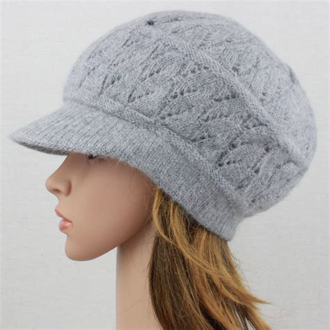 knit cap with brim angora knit hat brim baggy slouchy crocheted newsboy