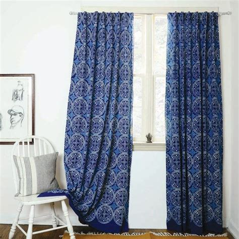 Block Print Curtains Indigo Curtains Blue Curtains Window Boho Bedroom Home Decor Housewares Block Print Home Living