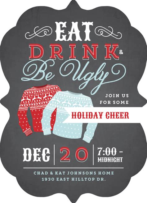ugly christmas sweater party invitation wording samples