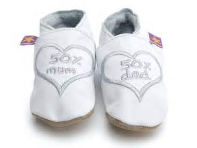 baby shoes 50 percent 50 percent white with silver new baby