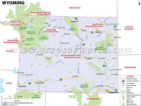 us map showing wyoming wyoming map showing the major travel attractions including
