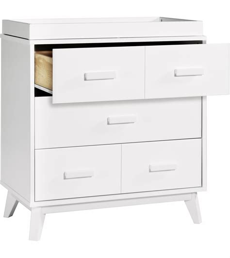 White Three Drawer Dresser by Babyletto Scoot 3 Drawer Changer Dresser White