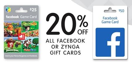 Zynga Gift Cards - expired 20 off all facebook and zynga gift cards at big w gift cards on sale