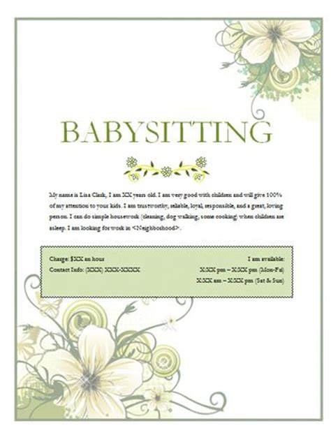 babysitting template 15 best ideas about babysitting flyers on