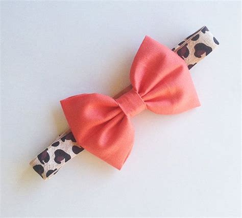 baby bow headband coral bow on leopard print elastic baby bows and style
