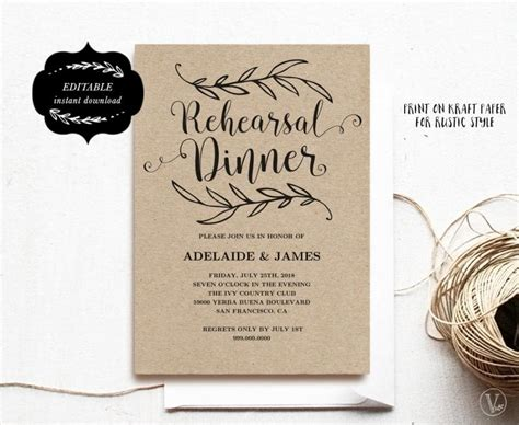 Wedding Dinner Invitation Card Template by Printable Rehearsal Dinner Invitation Card Template Kraft