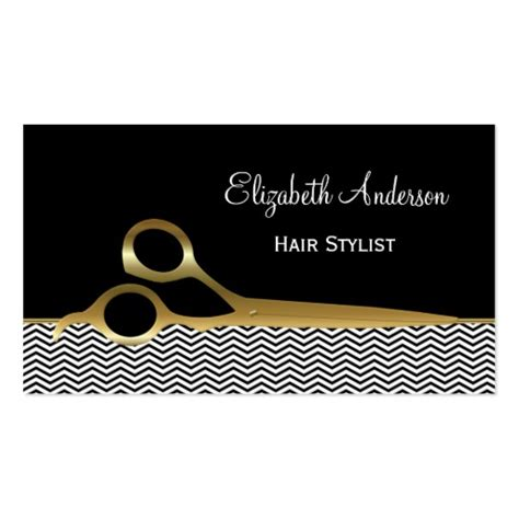 Hair Salon Business Card Template black and gold chevrons hair salon sided