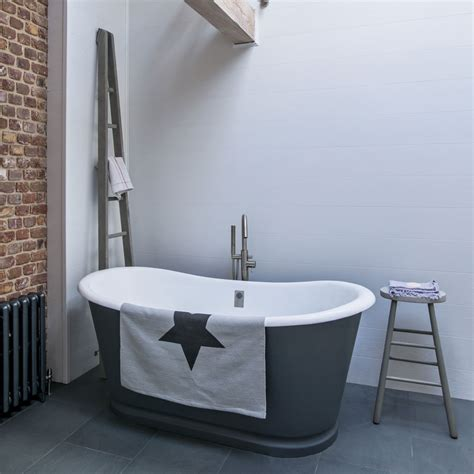modern country bathroom modern country bathroom with grey roll top tub