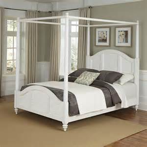 White Canopy Bedroom Furniture Shop Home Styles Bermuda White King Canopy Bed At Lowes