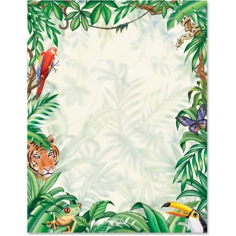 lined paper with rainforest border rain forest paperframes paper direct