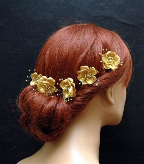 Silk Flowers Hair Wedding by Gold Silk Flower Hair Pins Wedding Hair Accessories Set