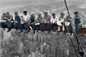 new york posters colourised lunch on a skyscraper poster