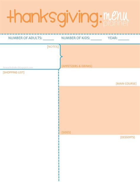 i knead to bake free printable thanksgiving menu planner