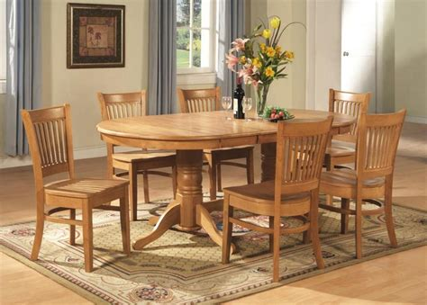 Hardwood Dining Room Furniture 7 Pc Vancouver Oval Dinette Dining Room Set Table And 6 Chairs In Oak Ebay