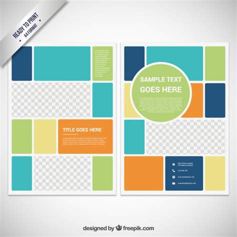 free block flyer template brochure template in color block style vector free