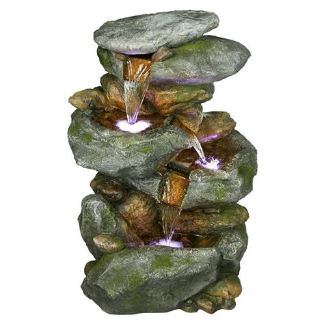 rock waterfall tabletop fountain with led lights