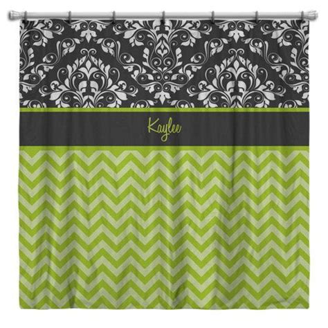 green chevron shower curtain personalized shower curtains chevron shower curtain
