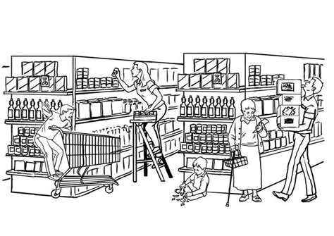 preschool coloring pages grocery store coloring page supermarket img 7878