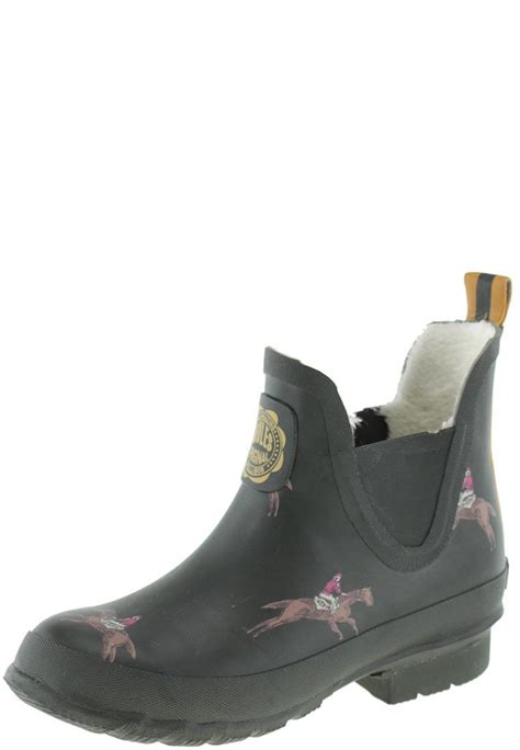 wellibob green racing warm ankle rubber boots by joules
