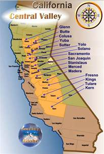 map of valley in california central valley population 6 5 millio area km2 110 000 km2
