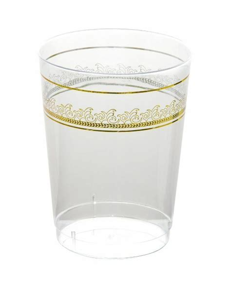 Clear with Gold Rim 10oz Disposable Plastic Tumblers Cups