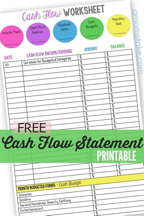 sle cash flow worksheet personal cash flow statement worksheet the o jays mom