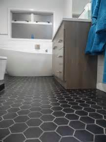 Black Bathroom Floor Tiles Black Hexagon Bathroom Floor Tile Design