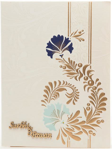 Wedding Card Design Patterns wedding card in white golden with multi color floral