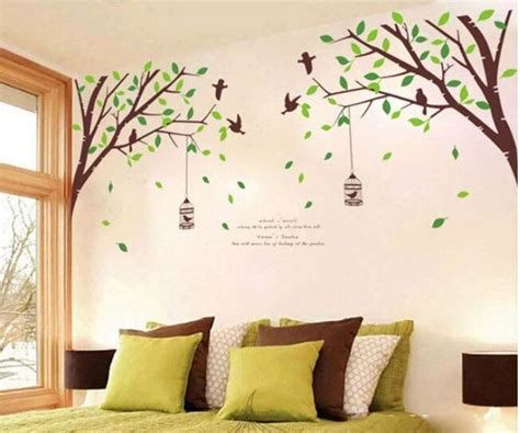 large removable wall stickers free shipping large green tree birds removable wall stickers nursery vinyl decals