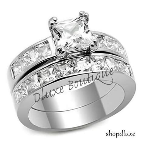 3.75 Ct Princess Cut AAA CZ Stainless Steel Wedding Ring