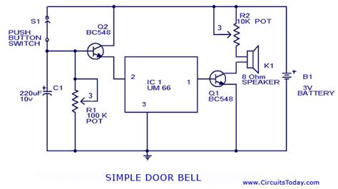 Door Bell Chime Wireless V Zorr Bc doorbell circuit with diagram and schematic using um 66 ic