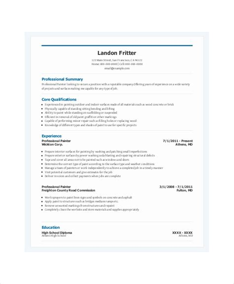 Painter Resume by Painters Resume Template 6 Free Word Pdf Documents