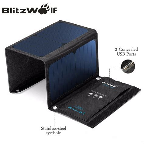 Power Bank Xiaomi Solar Blitzwolf 20w Solar Power Bank Solar Panel Portable Charger External Battery Universal Powerbank