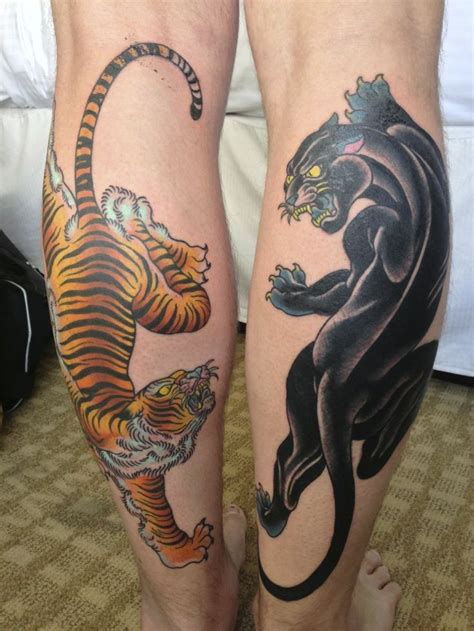 back of the leg tattoos panther images designs