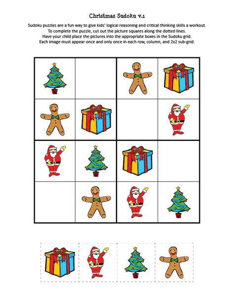 printable holiday sudoku christmas sudoku puzzles gift of curiosity