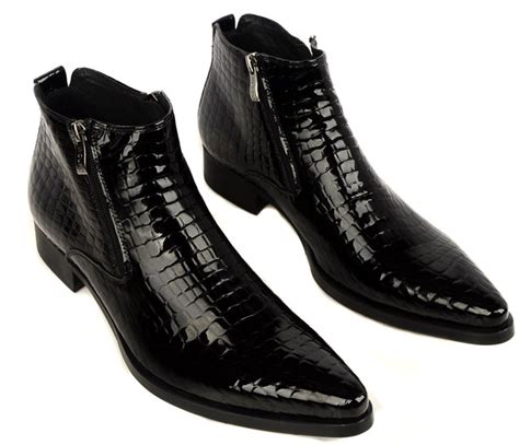 pointed mens boots mens crocodile pointed toe heeled leather boots