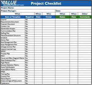 template of checklist generating value by using a project checklist value