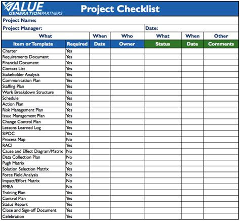 project management list template generating value by using a project checklist value