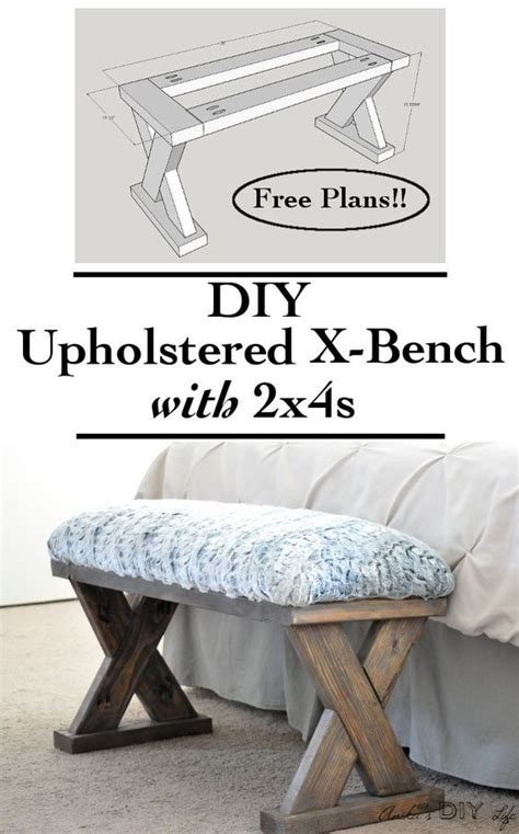 diy upholstered x bench using 2 x 4 boards with plans