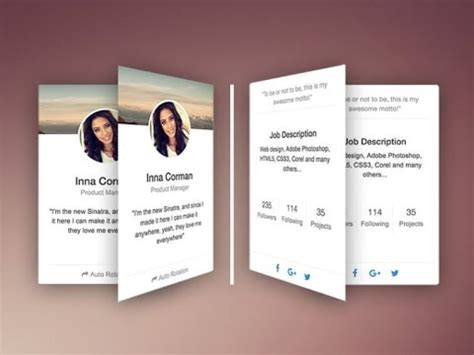 how to make responsive rotating team profile card using