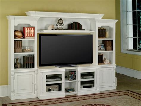 Alpine 43 60 Inch TV 4 Piece Expendable Premier Wall Unit in Cottage White Finish by Parker
