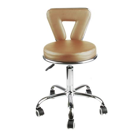 Light Brown Mushy Stool by New Light Brown Leather Salon Stool Back Clinic Dentist